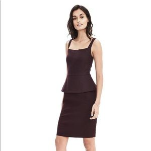 Banana Republic Grey Wool Peplum Tank Dress